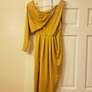 Yellow/GOLD ASOS cocktail dress